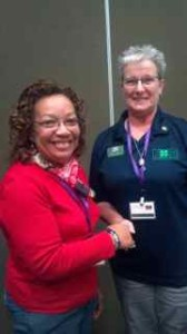 Venus Michele Spruill of Northampton County, left, is shown accepting congratulations for her new role as 2013 President Elect of the Northeast District Volunteer Leaders Association. Diane Sturges of Halifax County, right, is the current President.