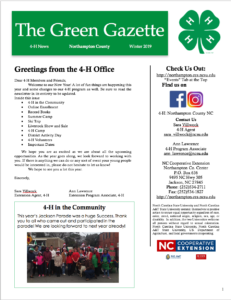 Cover photo for The Green Gazette Winter 2019